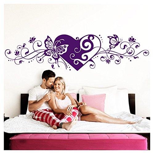 Grandora Wandtattoo Blumenranke Herz selbstklebend I violett 116 x 29 cm I Schlafzimmer Liebe Love Schmetterlinge Wandtatoo Wandaufkleber Wandsticker W642