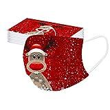 Your New Look 10-100 StüCk Weihnachtlich Bedruckte bandanaen Zum Schutz Der Nase Und Des Mundes Einweg-Ohrhakenbandanaen Weihnachtsbedruckte Einwegbandanaen Weihnachtsmann-Elch-Schneemann-Aufdruck