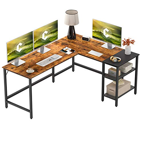 CubiCubi L Shape Computer Desk with Storage Shelf Study Writing Table for Home Office, Modern Simple Style PC Desk, Black Metal Frame, Rustic