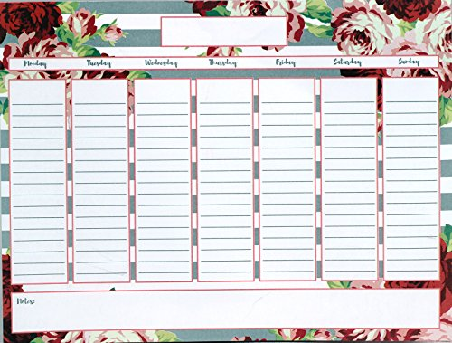 Creative Hobbies Magnetic Weekly Calendar Memo Grocery List Notepad Set, 52 Sheets with Pen & Decorative Magnet - Colorful Floral Design Photo #2