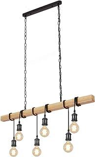 CARYS lustre suspension salon industriel plafonnier vintage luminaire bois abajour E27 Lampe Métal Rétro 6-Ampoule Intérie...