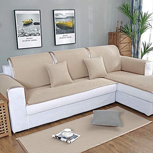 Funda de sofá, transpirable, funda de sofá de verano, funda de sofá de piel, antideslizante, para oficina, dormitorio, sala de estar, beige, 80 x 80 cm