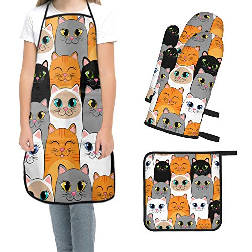 Blmiflwe 4 Piece Funny Cat Kitchen Apron Set Includes 1 Waterproof Apron,2 Oven Mitt and 1 Pot Holders,Long Heat Resistant,Microwave Gloves with Hanging Loop for Kitchen,Cooking,Baking BBQ
