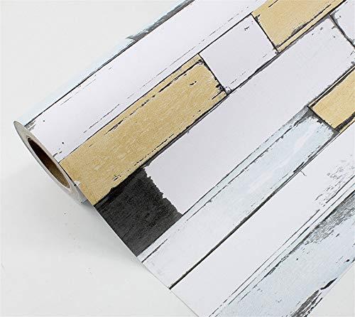 YUKANGI Zelfklevend Behang Baksteen Plank 3D Antieke Baksteen Hotel Restaurant Wit Baksteen Hotel PVC Behang 5mx60cm Stijl 5