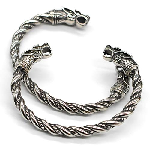 VikingsBrand Viking Bracelet for Men - Pagan Jewelry - Norse God Odin Wolf Heads Arm Rings