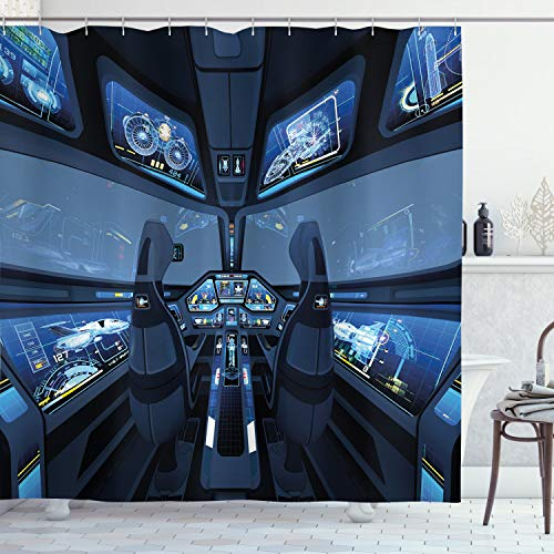 Ambesonne Outer Space Decor Shower Curtain by, Space Shuttle Cockpit Cabin with Mode Control Panel Flight Deck Area, Fabric Bathroom Decor Set with Hooks, 70 Inches, Blue Gray
