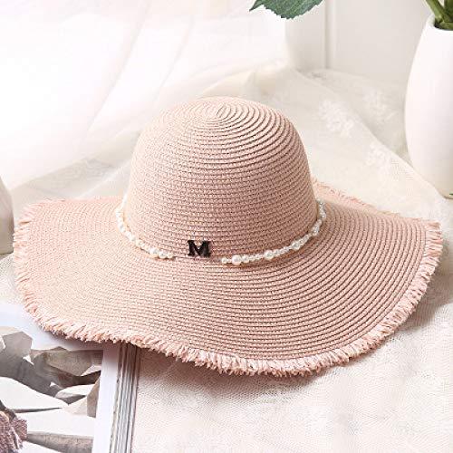 kyprx Stewardess Hut Baskenmütze Kappe Stewardess CapCheap M Brief Blume Perlen Seaeside Sonnenhüte großen Strand Mädchen Sonnenhüte