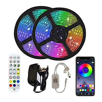 ANGROC Led Strip Lights, 32.8Ft Music Sync Color Changing Light Strip, APP Controlled, with 24-Keys IR Remote Controller, Flexible 5050 RGB LEDs Light Strips Kit for Home, TV, Party, DIY Decoration