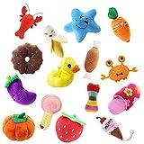 15er Pack Hund Quietschspielzeug, Robustes, Weiches Kauspielzeug-Set für Kleine Mittelgroße Hunde, Kinder, Haustiere, Interaktives Spielzeug, Katzen, Obst, Gemüsetiere, Farben variieren