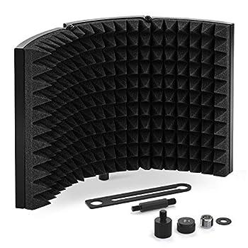 TONOR Microphone Isolation Shield Studio Mic Sound Absorbing Foam Reflector for Any Condenser Microphone Recording Equipment Studio Black