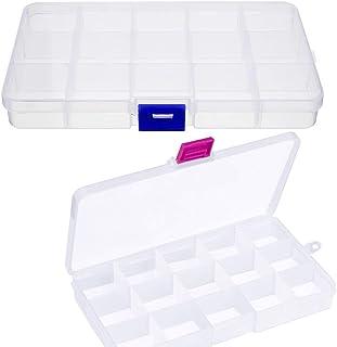 Kissral 2pcs Scatola con Scomparti Scatole Trasparenti Contenitori Plastic Organizer Gioielli per Perline Orecchino Scatol...