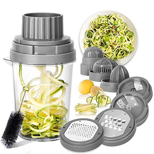SveBake Spiralschneider Gemüse Hand 8 in 1, Julienneschneider, Zoodle Maker, Spiralizer für Karotte, Gurke, Zucchini, Zwiebel | Grau