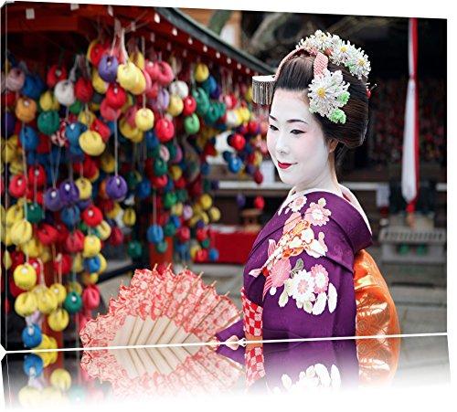 Anmutige Geisha mit Fächer Format: 120x80 auf Leinwand, XXL riesige Bilder fertig gerahmt mit Keilrahmen, Kunstdruck auf Wandbild mit Rahmen, günstiger als Gemälde oder Ölbild, kein Poster oder Plakat
