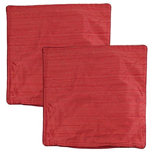 tuttoxtutti Zierkissenhüllen LONDON aus SEIDE hochwertig edel leuchtend glänzend 45 x 45 cm 2er-Set (Red Multi)