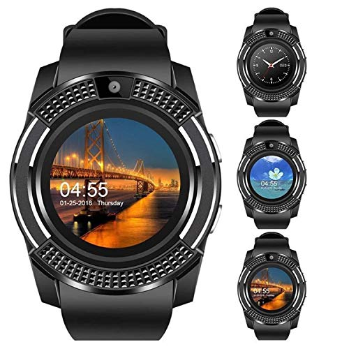 V8 Smart Watch,Bluetooth Smartwatch Touch Screen Wrist Watch with Camera/SIM Card Slot,Waterproof Android Smart Watch Sports Fitness Tracker Phone Watch Compatible iOS Android Phones Samsung Sony Blac