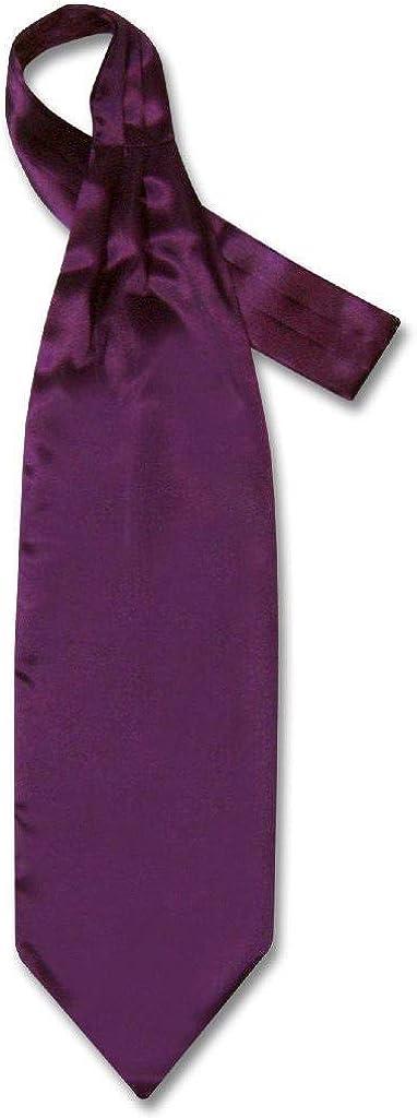 Biagio ASCOT Solid EGGPLANT PURPLE Color Cravat Men's Neck Tie