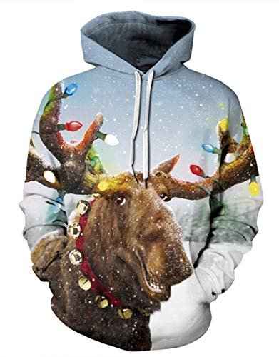 Ainuno Funny Ugly Christmas Sweater Reindeer Hoodie Men Women Holiday Sweatshirts,Reindeer XL