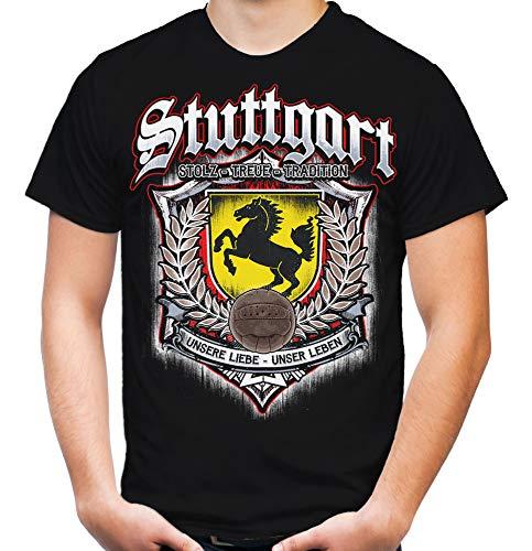 Für Immer Stuttgart Männer und Herren T-Shirt | Sport Fussball Stadt Fan (XL, Schwarz Druck: Bunt)