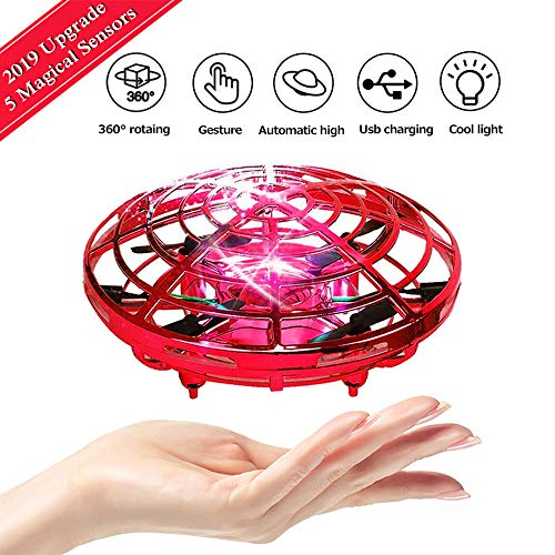 PerfectPromise UFO Flying Toys for Kids, Hand Controlled Mini Drone UFO Toy with 360° Rotating and LED Lights for Children Boys Girls-Red