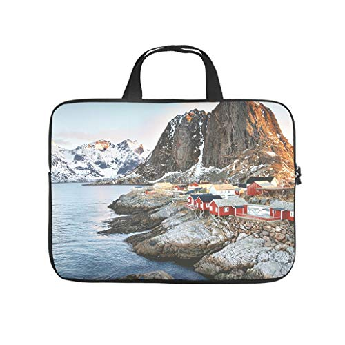 Winter Norway Island Nature Landscape Printed Laptop Bag Protective Case Waterproof Neoprene Laptop Bag Cover Funny Laptop Sleeve Case for Students