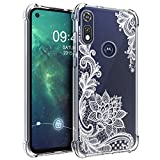 Osophter for Moto E 2020 Case Moto E7 Case for Girls Women Shock-Absorption Flexible TPU Rubber Cell Phone Cases Cover for Motorola Moto E(2020)(White Lace)