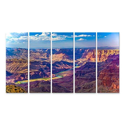 Bild Bilder auf Leinwand Grand Canyon bei Sonnenaufgang mit Fluss Colorado Wandbild, Poster, Leinwandbild NTR