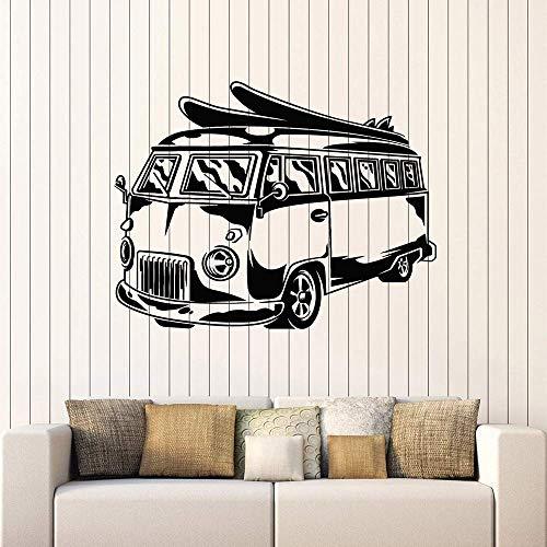 Hippie Bus Vinyl Muursticker Kantoor Mobiele Auto Surf Strand Vakantie Muursticker Decoratie Kleuterschool Kinderkamer Art 42x54cm