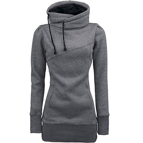 Damen Hoodie Sweatshirt,Dasongff Frauen Kapuzenpullover Mit hohem Kragen Feste Sweatshirt Pullover Tops Slim Fit Pulloverkleid (L, Grau)