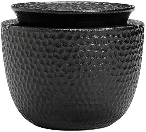 Cenicero de cerámica con tapa, grande, para sala de estar, oficina, dormitorio, mesa de café, cenicero para el hogar, creativo, simple y moderno cenicero (color: negro) mei