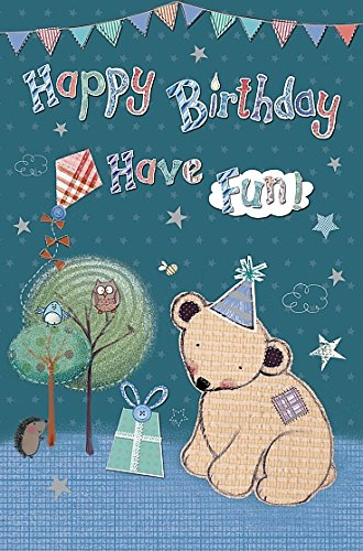 Wishing Well Studios Greetings Card - Birthday Bear Cub with party hat