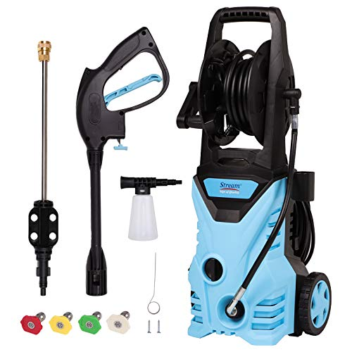Electric High Pressure Washer Max. 3000PSI 1.8GPM Power Washer 1650W High Pressure Cleaner Machine with Spray Gun, 5 Nozzle Adapter, Long Hose and Hose Reel