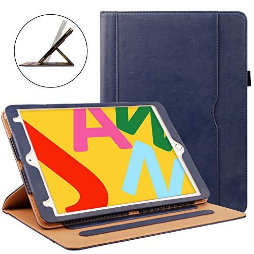 Zonefoker iPad 6th/5th Generation 24,6cm 2018/2017custodia in pelle, auto Sleep/Wake 360gradi di rotazione multi-angolo basamento del foglio con portapenne e tasca per carte #2 Blue