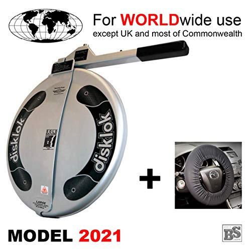 Disklok BS Silber (Model 2021) inkl. Lenkrad-Schoner - Lenkradkralle und Airbagschutz für Lenkräder (für Linkslenker EU ohne UK) (L 440)