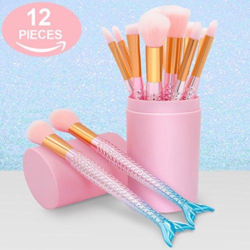 Makeup Brushes Set- Cosmetic Conceler Brushes Kit Tool 12PCS Make Up Foundation Eyebrow Eyeliner Blush Concealer Brushes Pink Mermaid Colorful (pink)