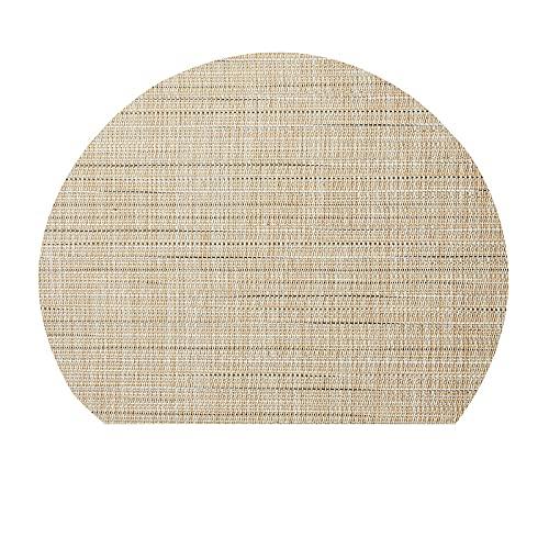 CNYG Mantel individual de PVC semicircular con placa nórdica, mantel individual occidental impermeable con aislamiento térmico de 30 x 25 cm, color crema
