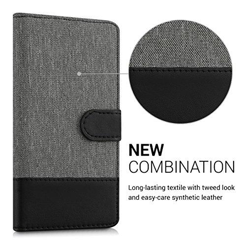 kwmobile Huawei P9 Lite Hülle - Kunstleder Wallet Case für Huawei P9 Lite mit Kartenfächern und Stand - Grau Schwarz - 2