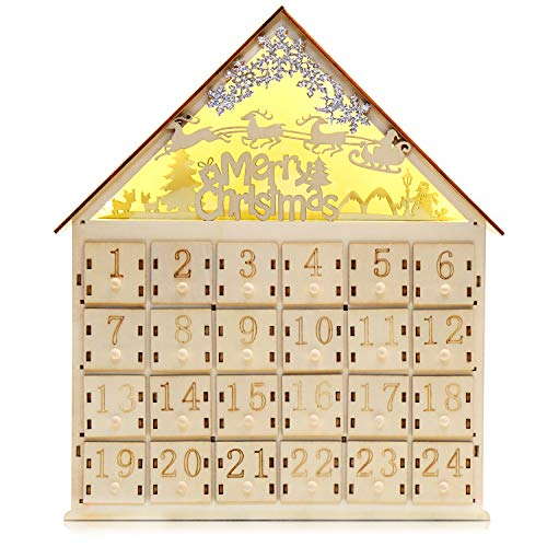 CCINEE Christmas Wooden Advent Calendar with LED Light 24 Storage Drawers Christmas Countdown Calendar for Holiday Decoration