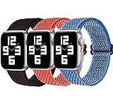【3 Pezzi 】 Nylon Cinturino Orologio per Apple Watch Cinturino 38mm 40mm 42mm 44mm, Cinturini di Ricambio Sportivo per iWatch SE Series 6 5 4 3 2 1(42/44mm
