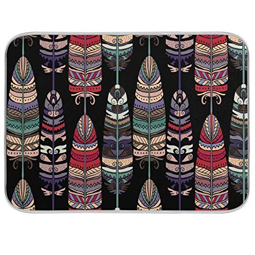 JinDoDo - Alfombrilla de secado de cocina, diseño de plumas de colores bohemios, para encimera de cocina (40,6 x 45,7 cm)