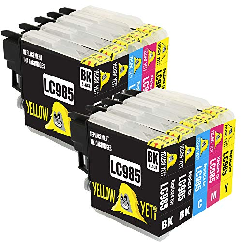Yellow Yeti Ersatz für Brother LC985 Druckerpatronen kompatibel für Brother DCP-J315W DCP-J125 DCP-J140W DCP-J515W MFC-J415W MFC-J220 MFC-J265W MFC-J410 (4 Schwarz + 2 Cyan + 2 Magenta + 2 Gelb)