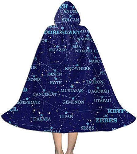 Romance-and-Beauty Capa para nios con Capucha, Mapa de Estrellas de Ciencia ficcin, Capa Unisex con Capucha, Capa, Bata de Bruja, Capa Larga, Capa de Fiesta de Cosplay de Halloween