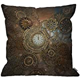 HGOD DESIGNS Steampunk Cushion Cover,Rusty Steampunk with Clock and Different Gears Metal Machine Gold Bronze Throw Pillow Case for Living Room Bedroom Sofa Chair 18X18 Inch Pillowcase 45X45cm