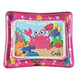 Goolsky 50 * 60cm Baby Colorful Inflatable Water Play Mat Tummy Time Infant Fun Mat Child Development Play Center with Hand Inflator Pump for 4~6 Years Old Infants-Pink