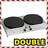 DUAL 2x 16 '' inch /40cm PROFESSIONAL Commercial industrial Restaurant TEFLON COATED Thermostat Control Non Stick DOUBLE COOKERS Pan Electric Snack Pancake CREPE Maker Griddle Machine 220V