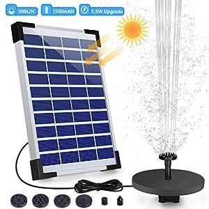 VITCOCO Solar Fuente Bomba, 5.5W Fuente de Jardín Solar, Batería Incorporada, Caudal 500 L/H, con 6 Boquillas y Tabla…