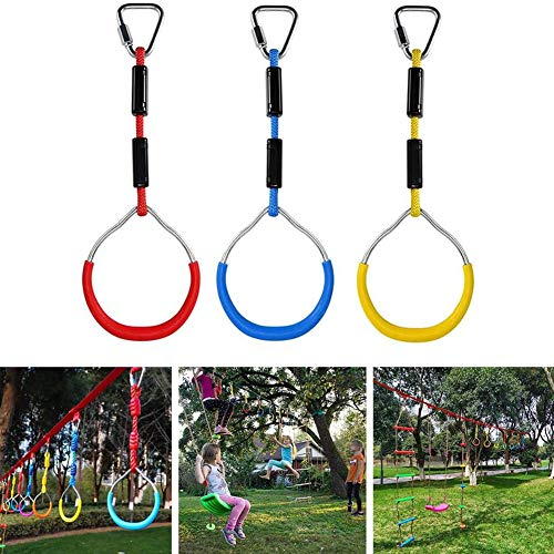 Gym Kids Indoor Wiegen Bar Ringen Kleurrijke Achtertuin Outdoor Gymnastiek- Ring Ninja Hindernisbaan Kit Outdoor Schommels,Red