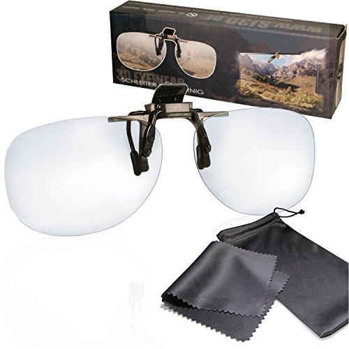 SJ3D Passive 3D Brille – 3D Brillen Clip VERSION 1- Aufsatz für Brillenträger - Polfilterbrille zirkular polarisiert - Für RealD 3D Kino & TV: LG Cinema 3D Philips Easy 3D Telefunken Toshiba 3D Natural Vizio 3D und 3DTVs von SONY Grundig Panasonic Hisense CMX uvm. - Inkl. Mikrofaser Brillenbeutel und Putztuch
