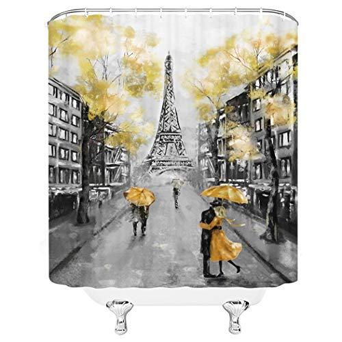 Ölgemälde Paris Duschvorhang-Set, Europäische Stadt, Landschaft, Frankreich, Eiffelturm, modernes Paar, schwarz-gelb, Stoff, Badezimmer, Heimdekoration, 183 x 183 cm, 12 Kunststoff-Duschhaken