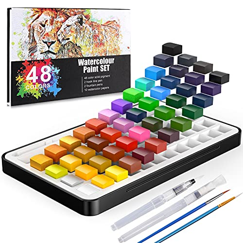 Gifort Watercolor Paint Set, 48 Vibrant Colours Portable Travel Watercolor Painting Kit with 2 Brush Pens, 2 Paint Brushes and 10 Watercolor Papers for Kids Adults Artists Beginners
