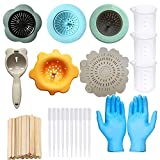 Allazone 30 Stück Acryl Ausgießsieb Acryl Gießen Sie Siebe, 6 Stück Acryl-Ausgießsieb Flow Painting Tools Kits für DIY Farbe, Dusche, Badewanne